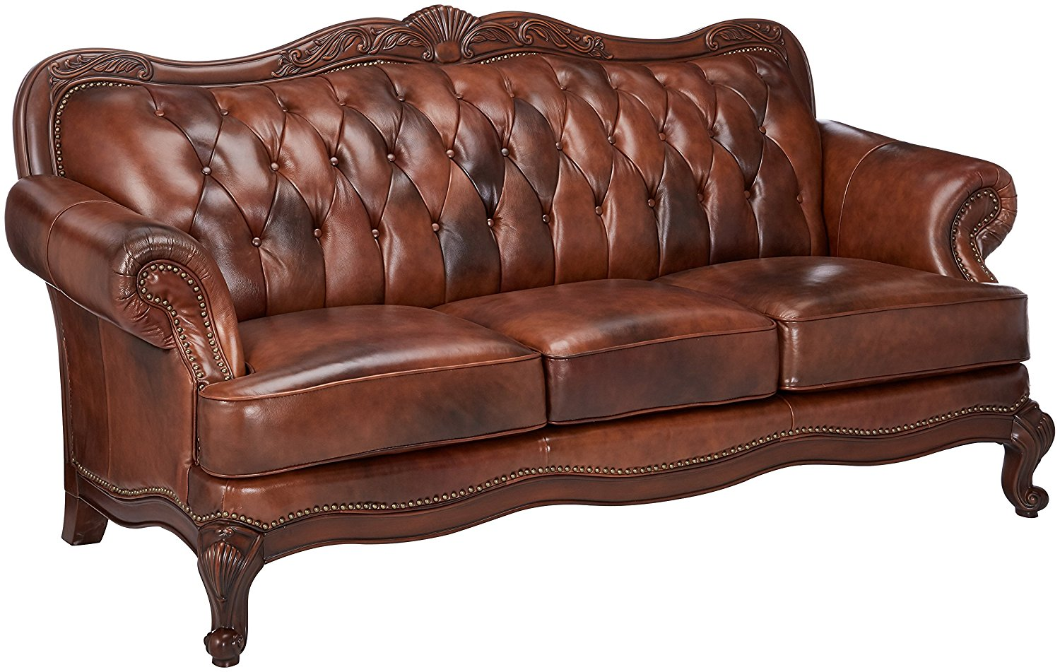 Coaster Home Furnishings Victoria is a stylish traditional leather sofa