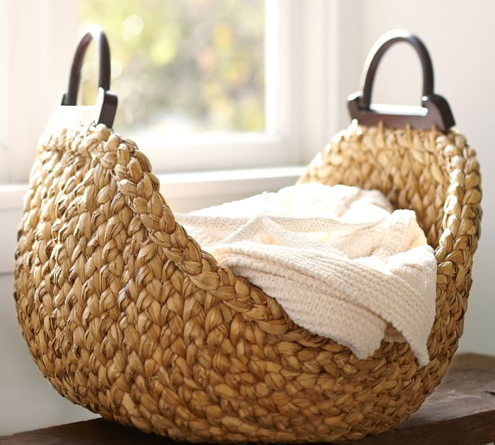 wooden baskets are great for no couch living room design