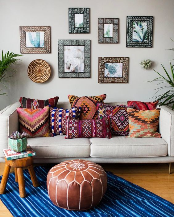 Cute and colorful pillow decoration on couches