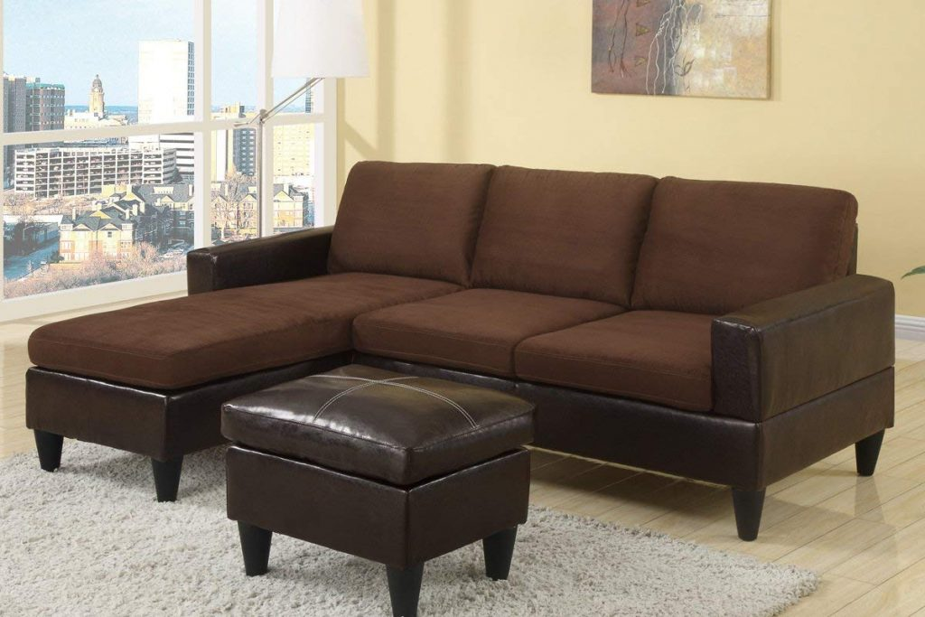 Poundex Compact Reversible Sectional sofa is an affordable option